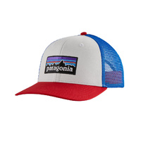 Patagonia P-6 Logo Trucker Hat - White/Fire/Andes Blue